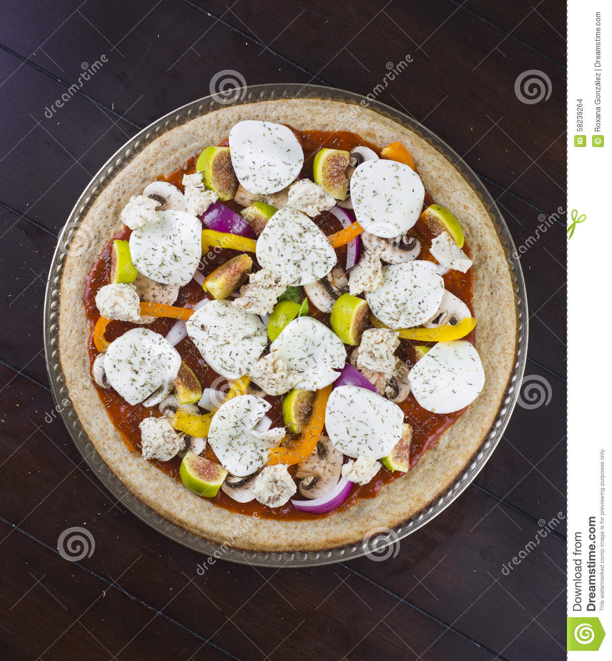 Fresh Veggie Pizza Toppings Stock Photo - Image: 58239264