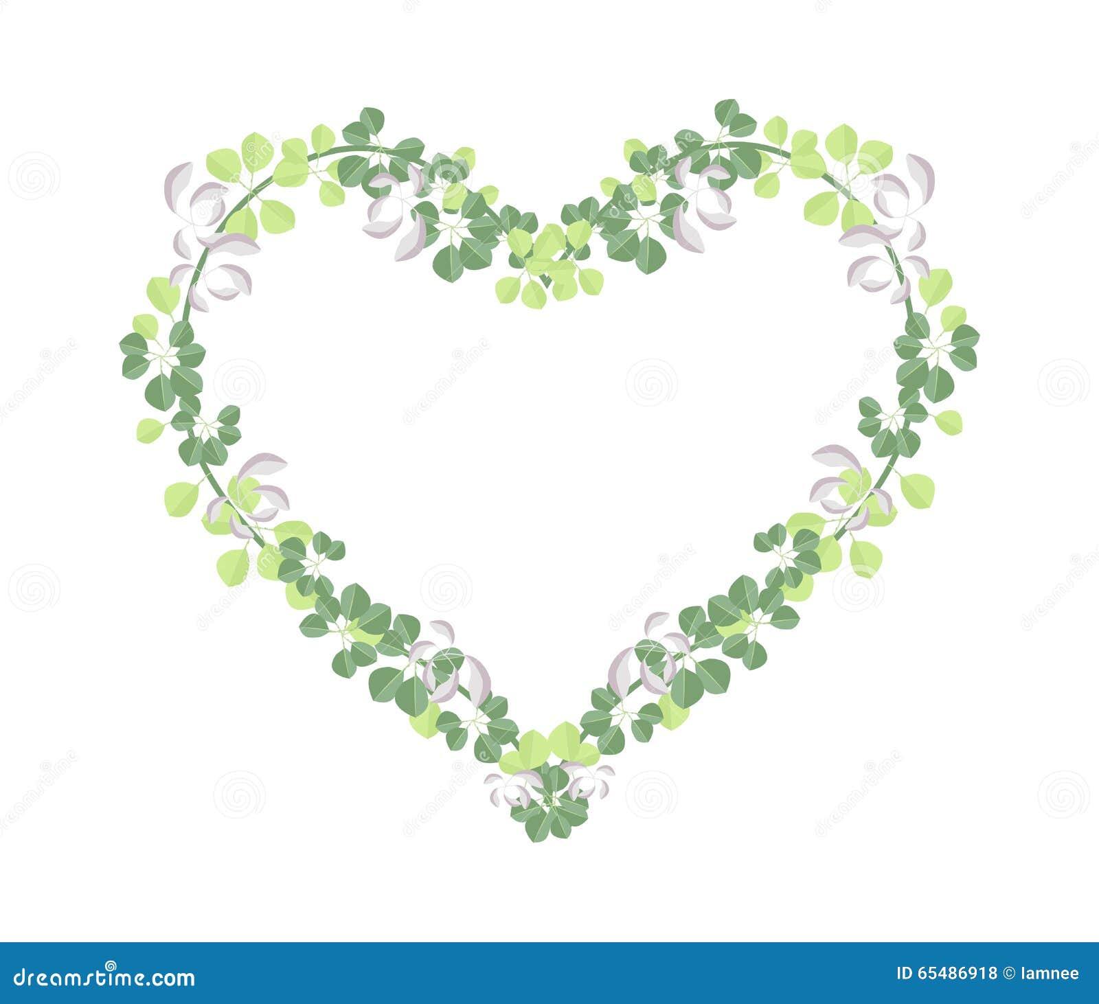 Fresh Vine Leaves In Beautiful Heart Shape Stock Vector ...