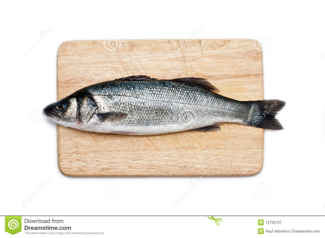 Fresh water fish on a cutting board isolated stock image for Fish cutting board