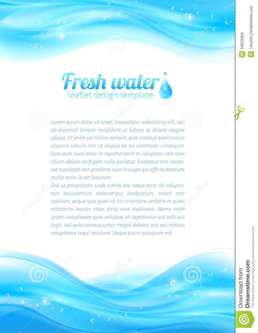 Fresh Water Vector Leaflet Template Stock Images - Image: 34523454