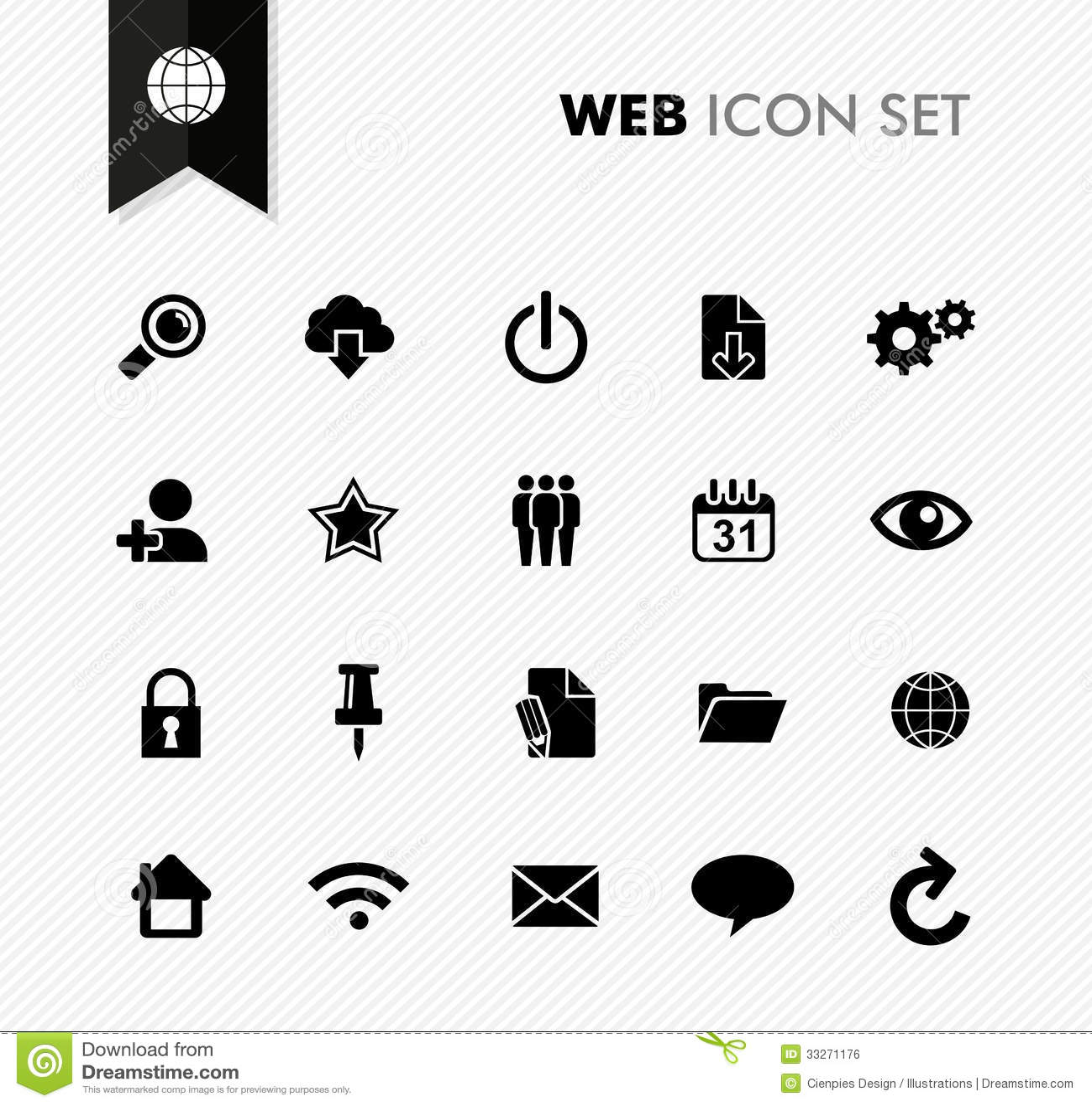 Fresh Web Icon Set Stock Vector Image Of Global