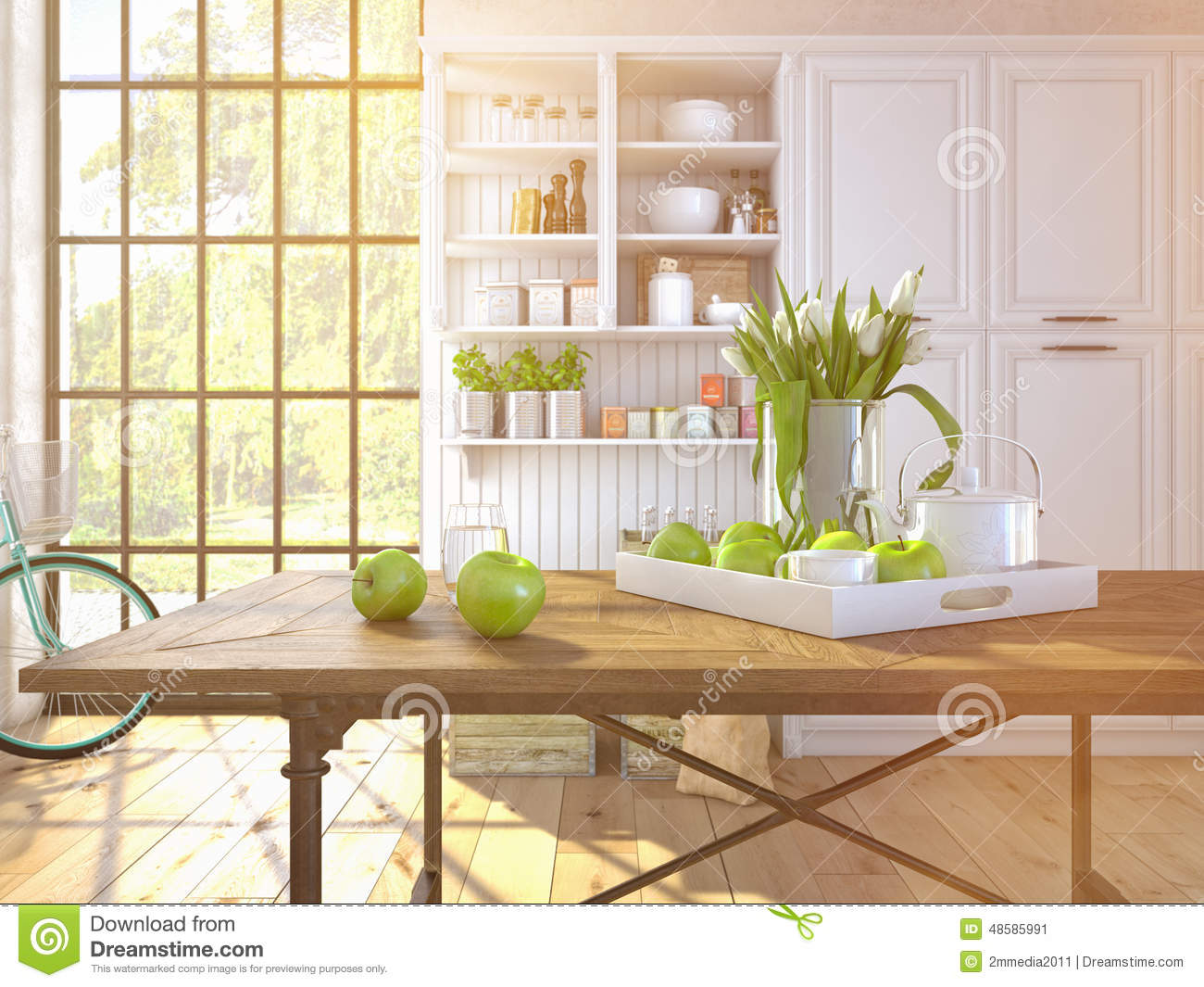 Fresh White Tulips On Kitchen Background Stock Photo