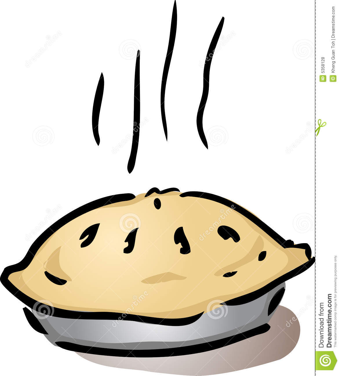 Fresh, hot, whole pie in pan cooling off, illustrationVector ...