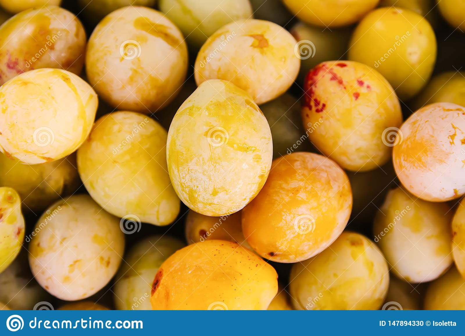 Fresh yellow plums. Ripe fruits in a wooden box in summer garden