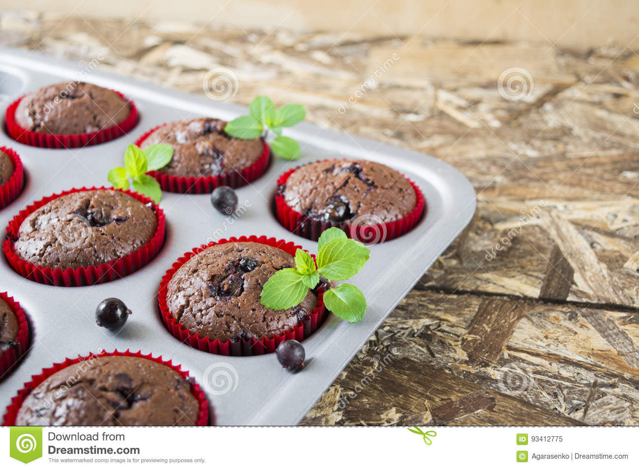 Freshly baked chocolate muffins with currant and mint in red forms