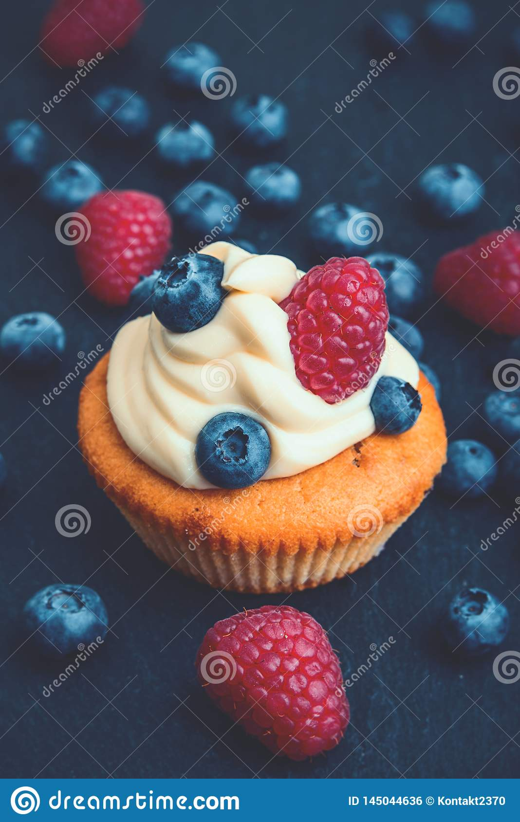 Berry Cupcake with creamy topping