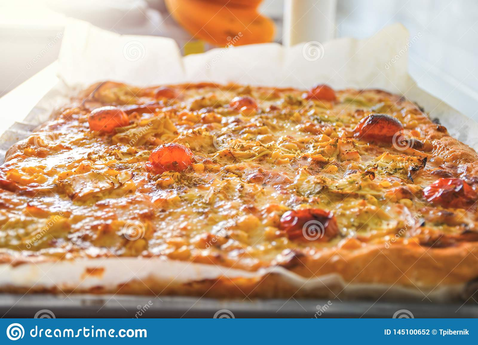 Freshly baked hot homemade pizza with red tomato vegetables and white mozzarella cheese