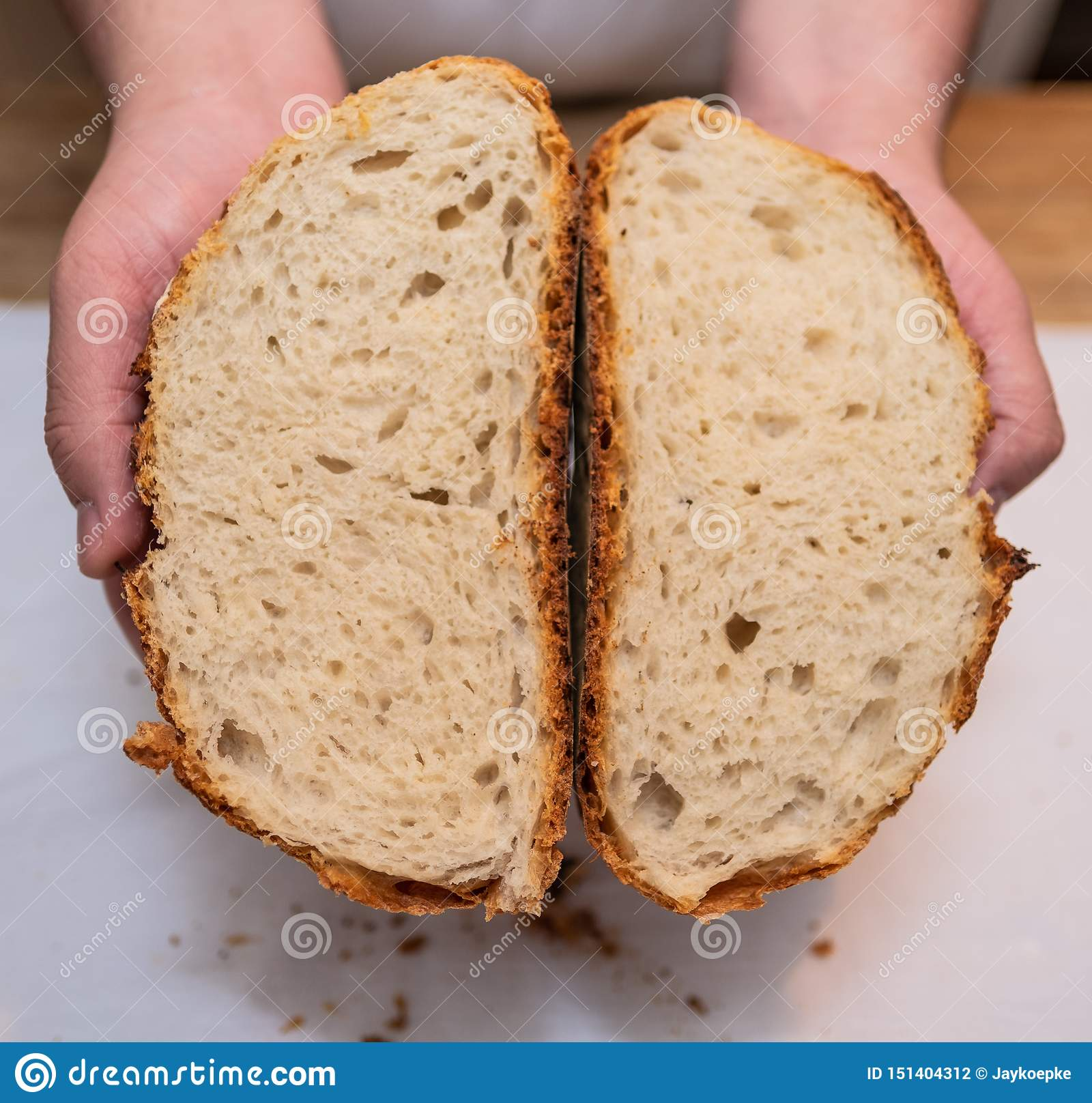 Cross section of freshly baked loaf of bread