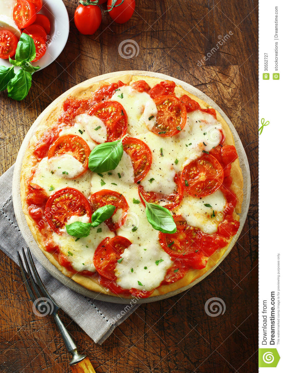 Freshly Baked Tomato And Cheese Pizza Royalty Free Stock