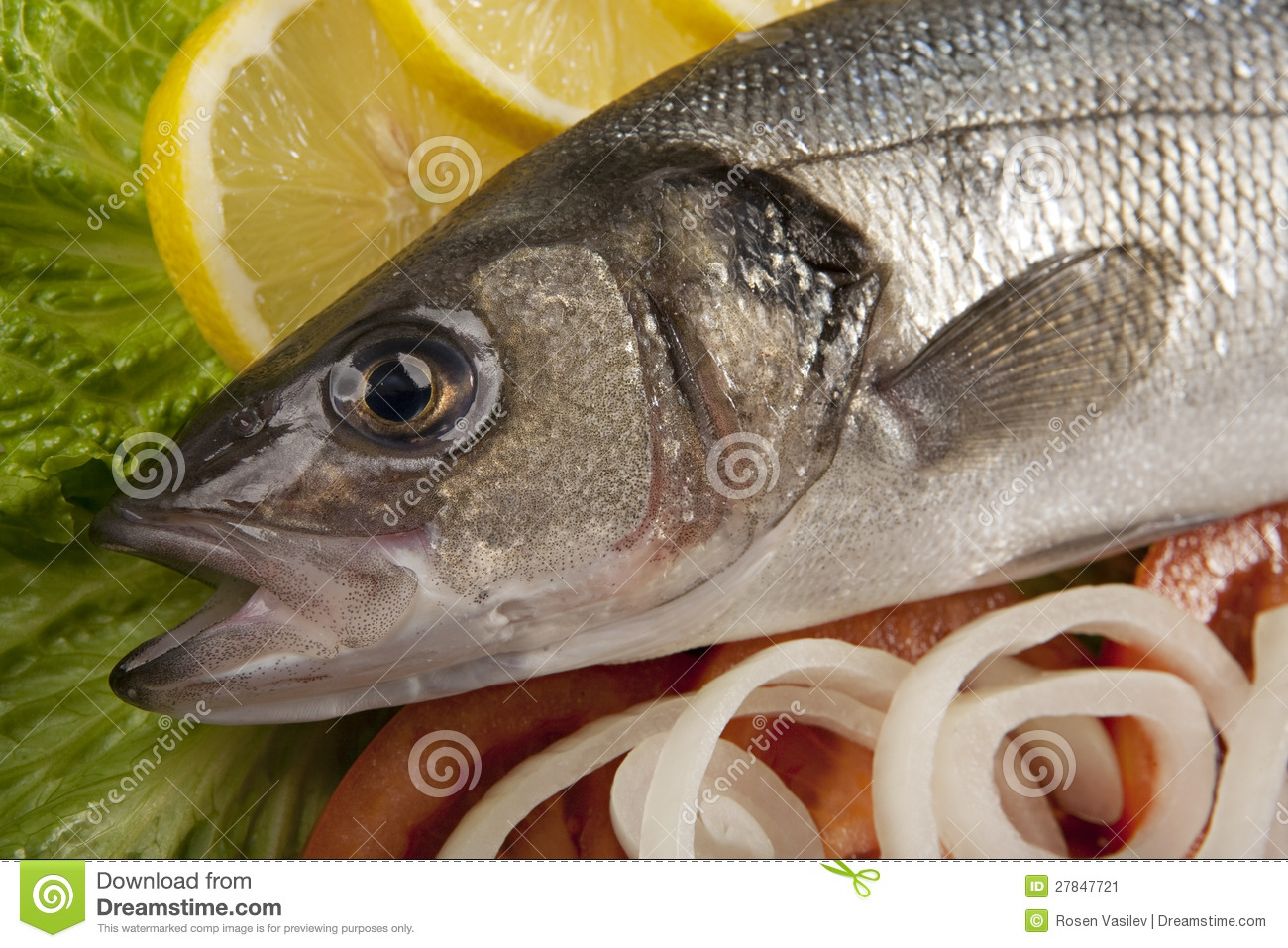 Freshly bass fish with vegetables stock image image for Fish with vegetables