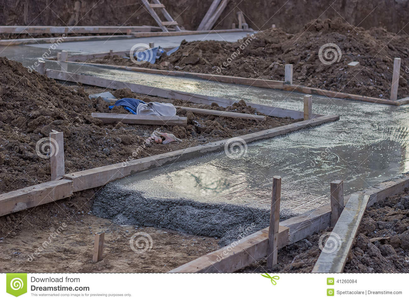 Freshly Poured Concrete Slab Stock Photo Image 41260084
