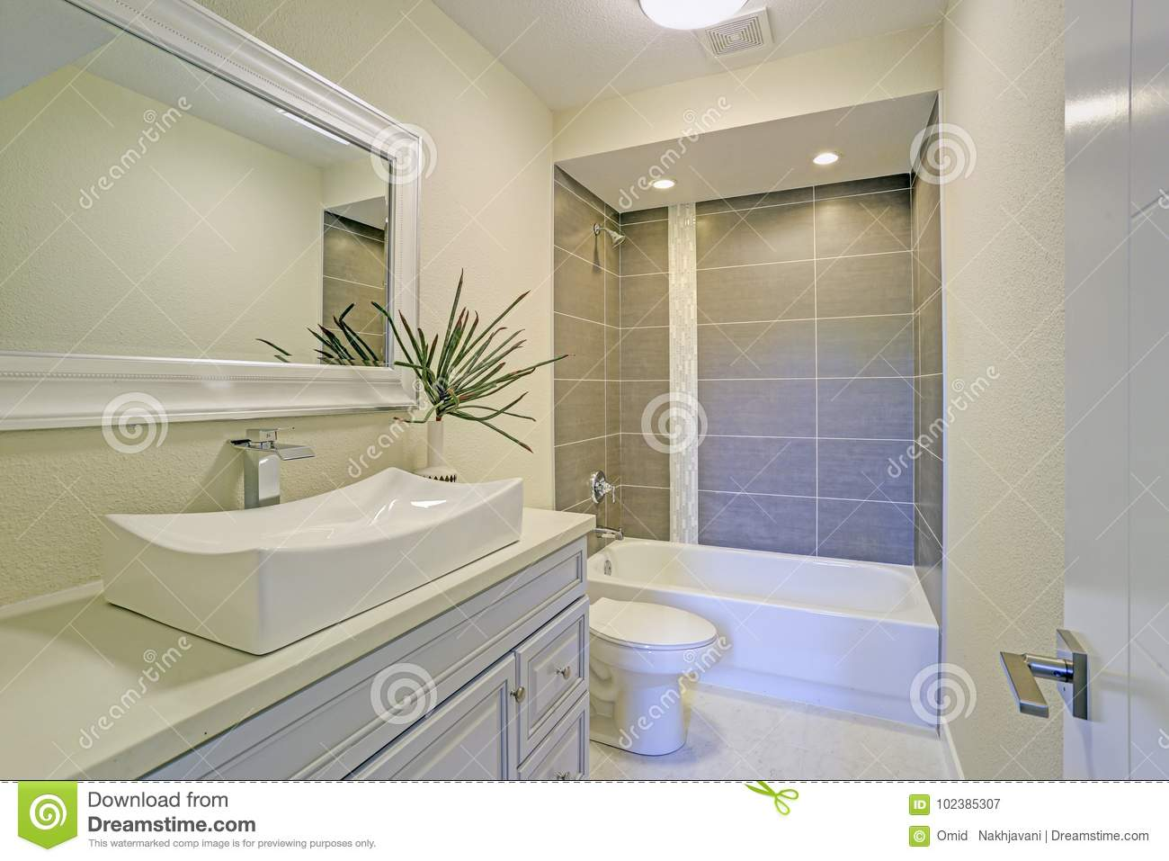Freshly Renovated Bathroom Features Shower Tub Combo Stock Image ...