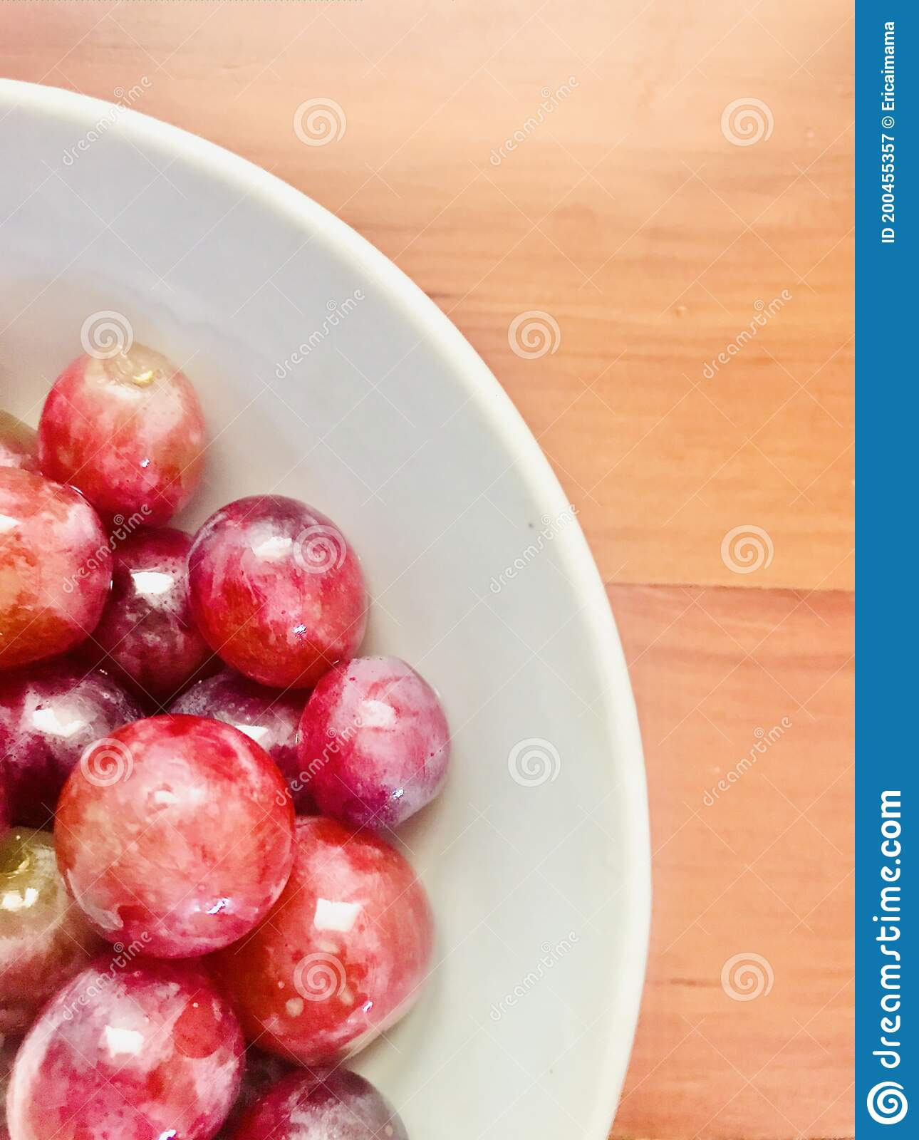 Clean Red Grapes In White Bowl Wooden Table Background Stock Image Image Of Gourmet Background 200455357
