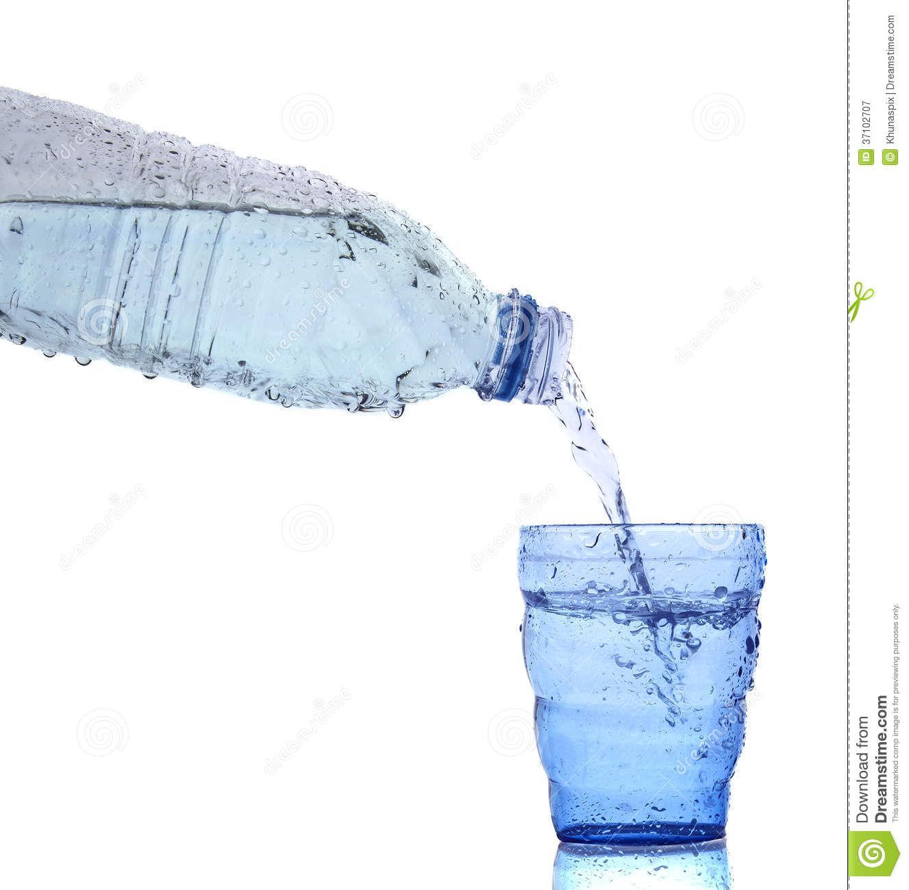 Freshness cool and clean drinking water pouring to blue glass is