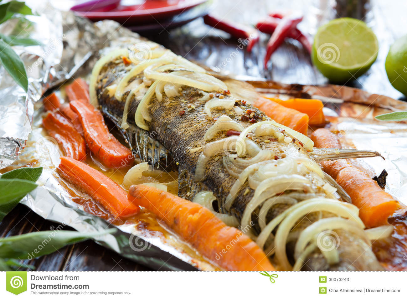 Freshwater fish baked in foil stock image image 30073243 for Cooking fish in foil