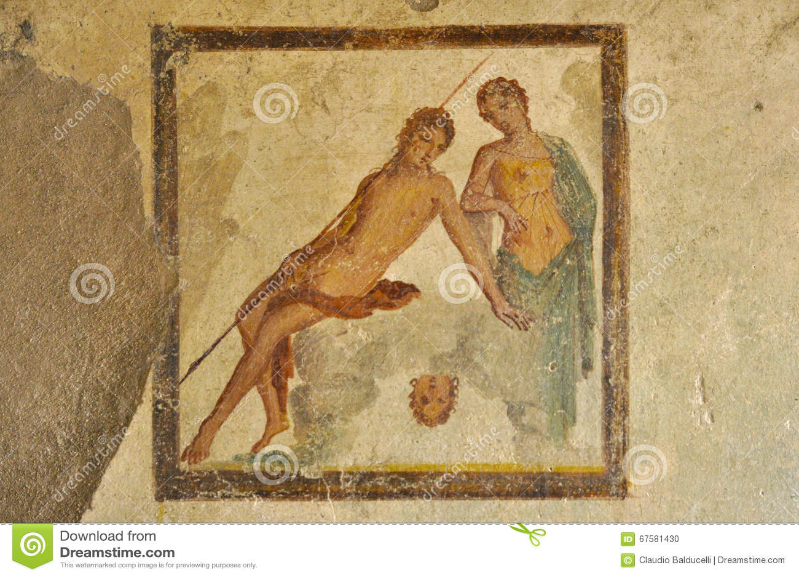 Fresko in de ruïnes van Pompei