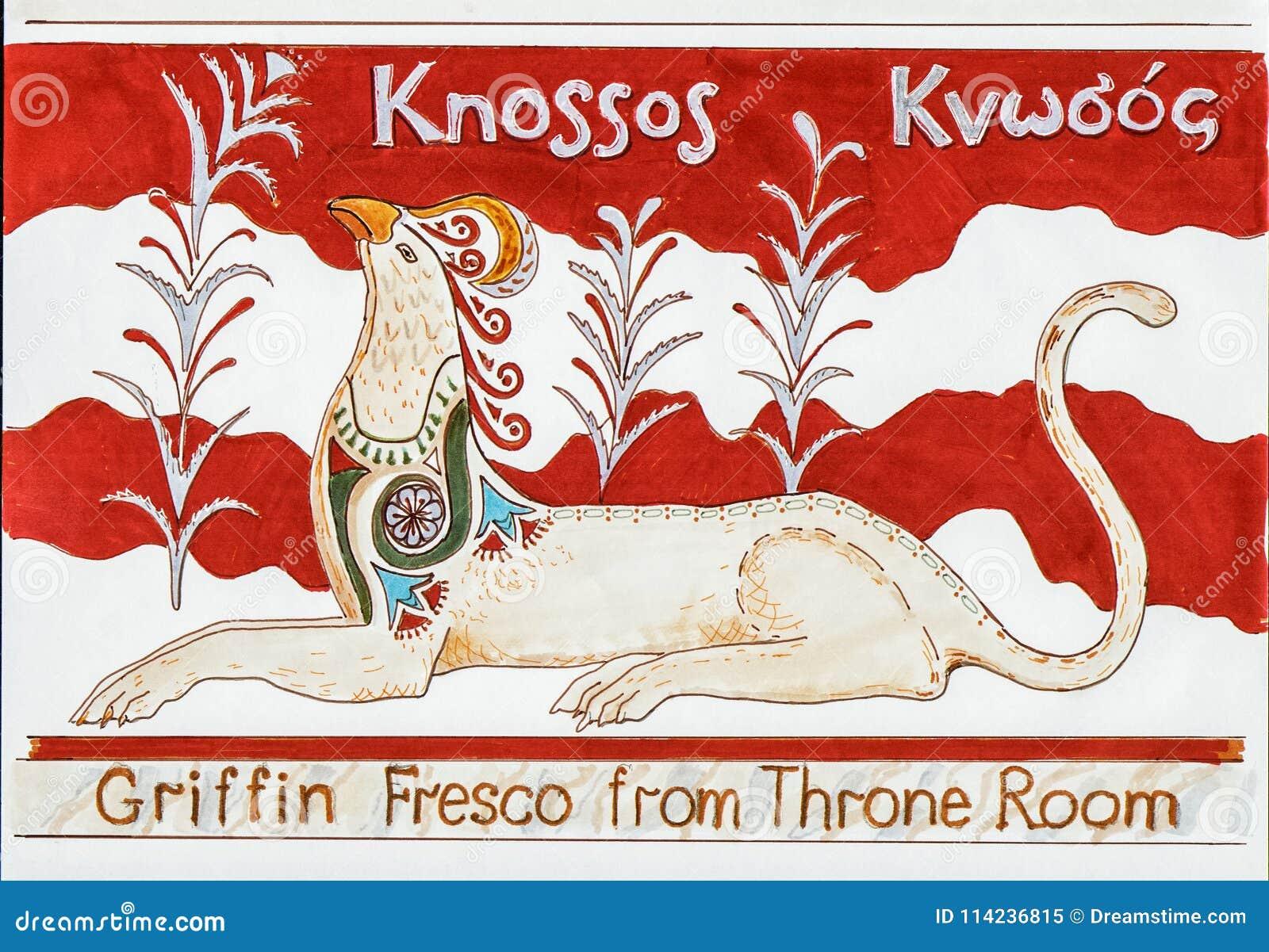 Freskomålning för Knossos slottgrip