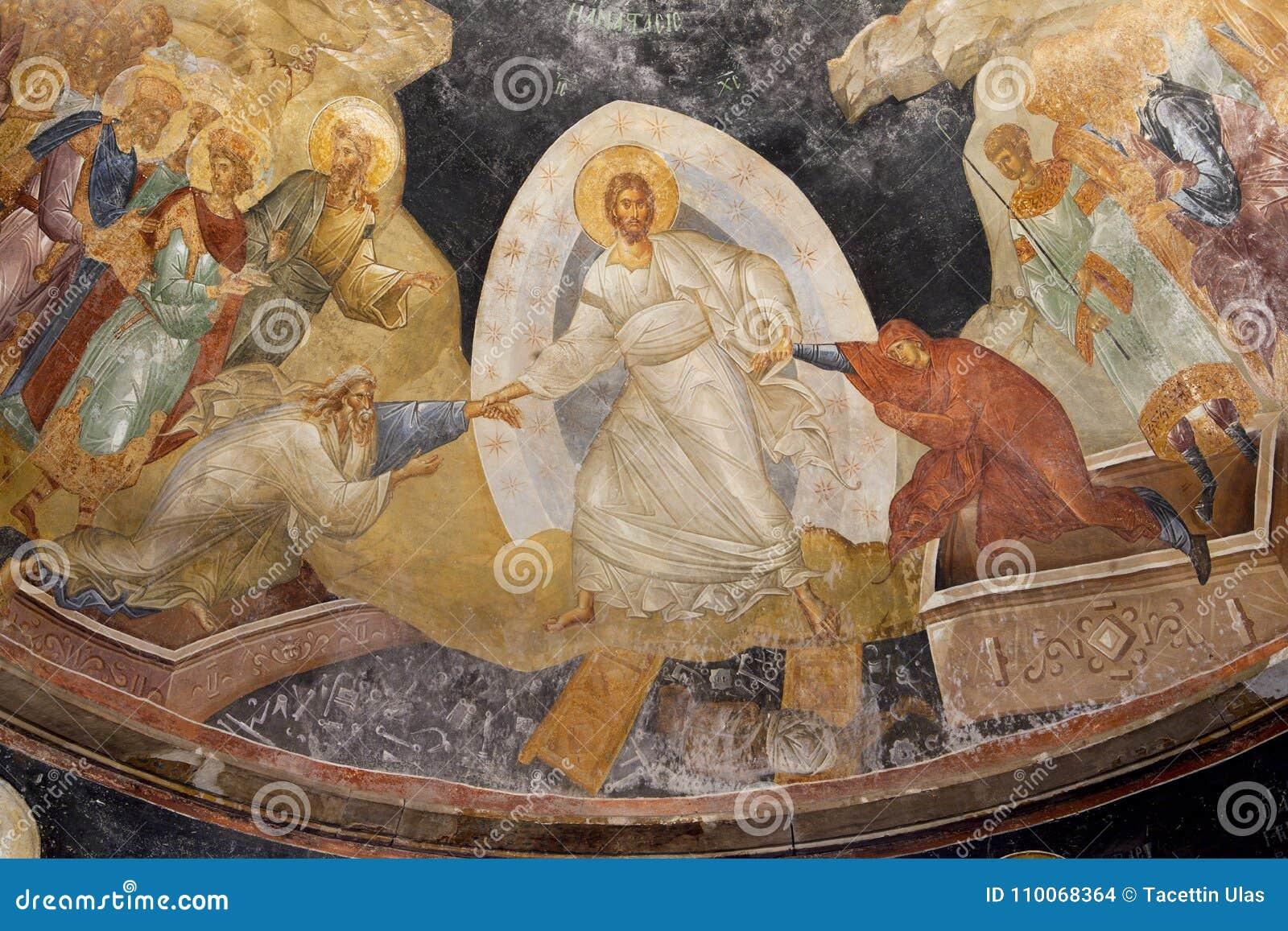 Fresque bizantin antique de Jésus, d Adam et d Ève dans l église du chora de saint à Constantinople, ISTANBUL, TURQUIE