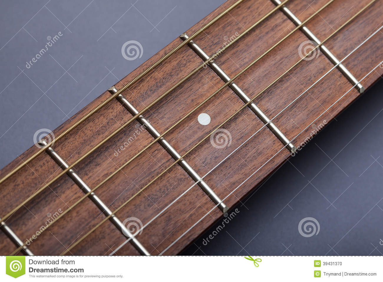 Fretboard On Acoustic Guitar Close Up Fifth Fret