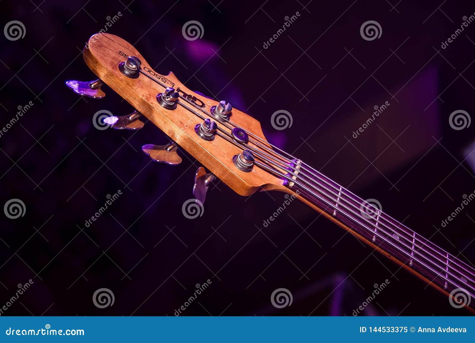 Fretboard di legno del basso elettrico alla luce porpora di concerto