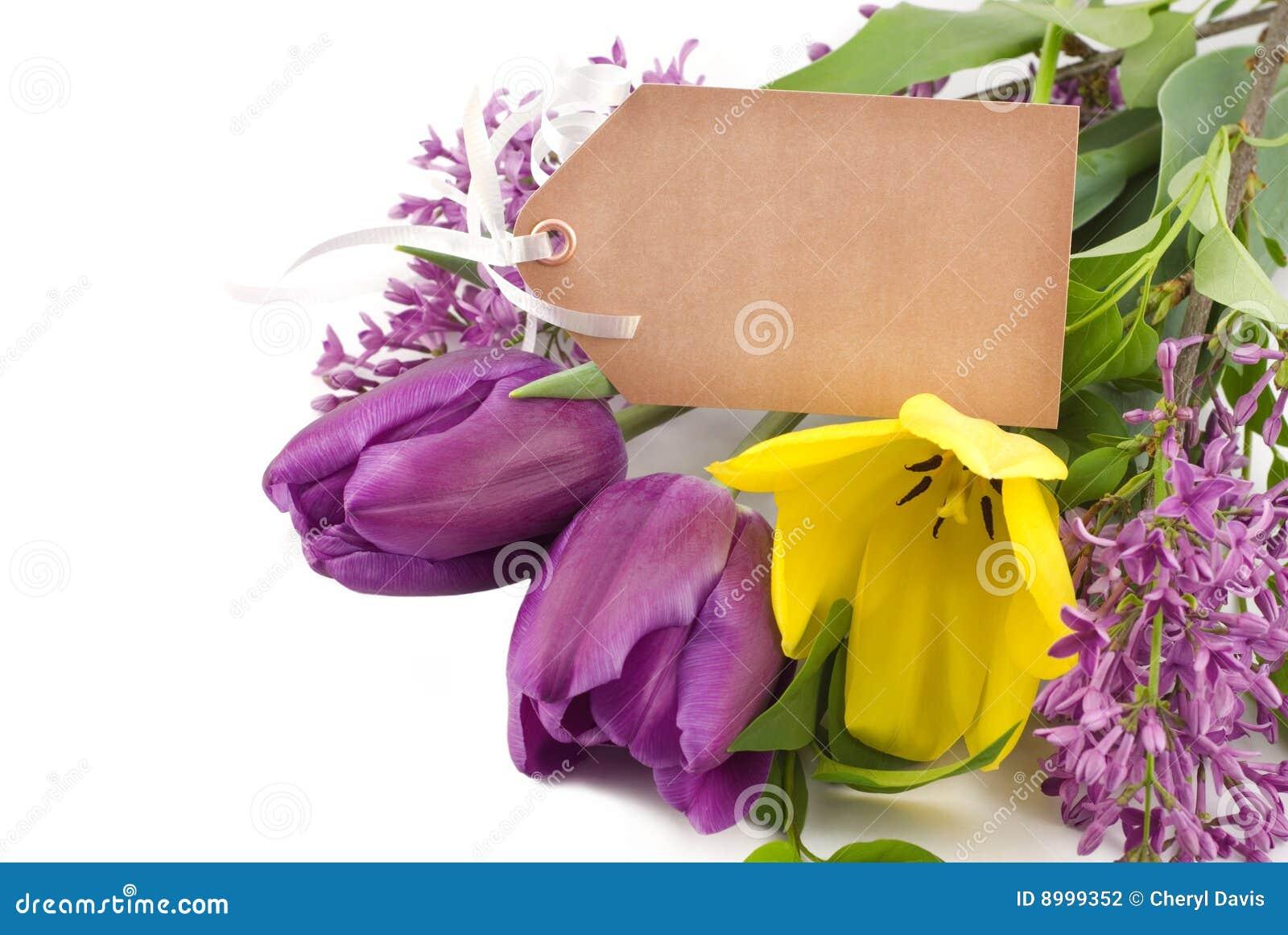 fr hlings tulpen und flieder mit marke stockfotografie bild 8999352. Black Bedroom Furniture Sets. Home Design Ideas