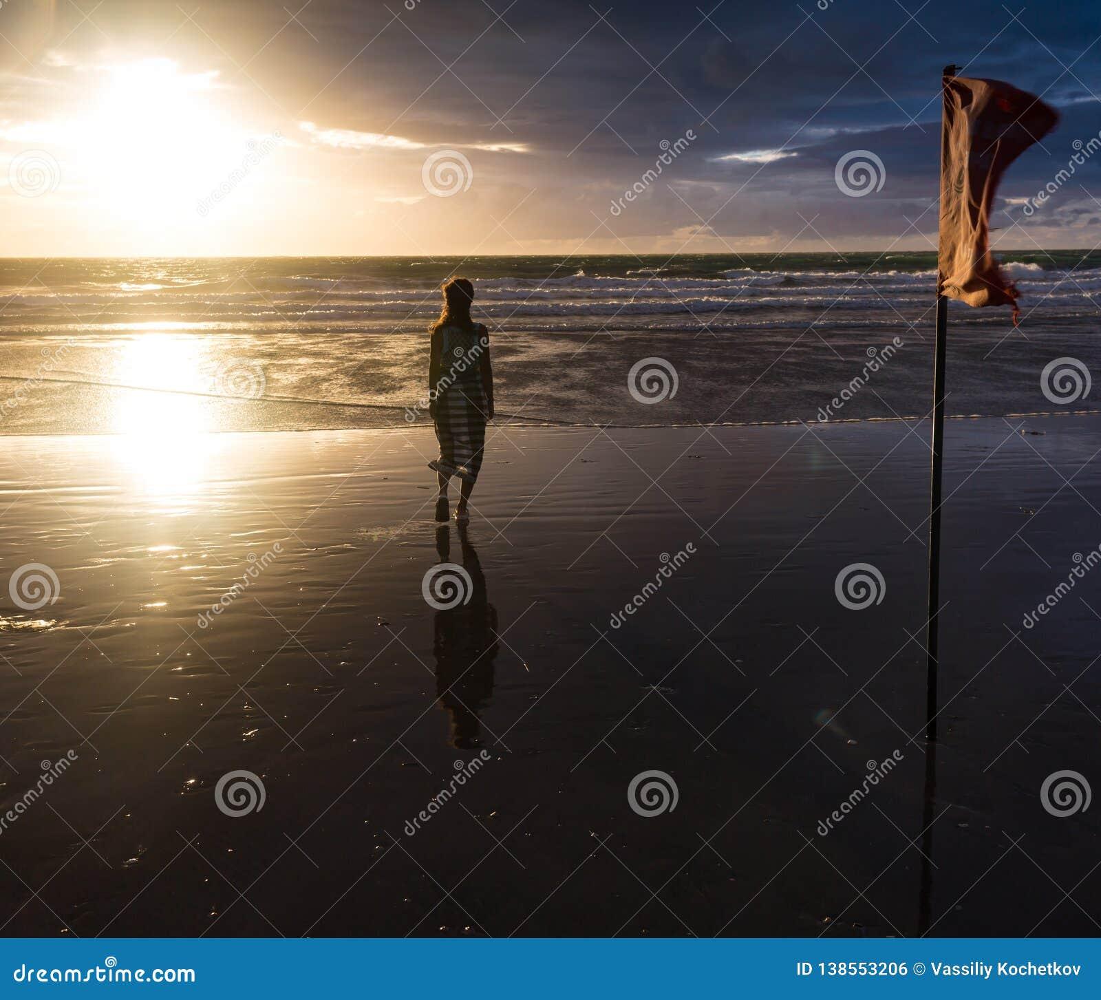 Fri kvinna som tycker om frihet som känner sig lycklig på stranden på solnedgången Härlig fridfull avslappnande kvinna i ren lyck