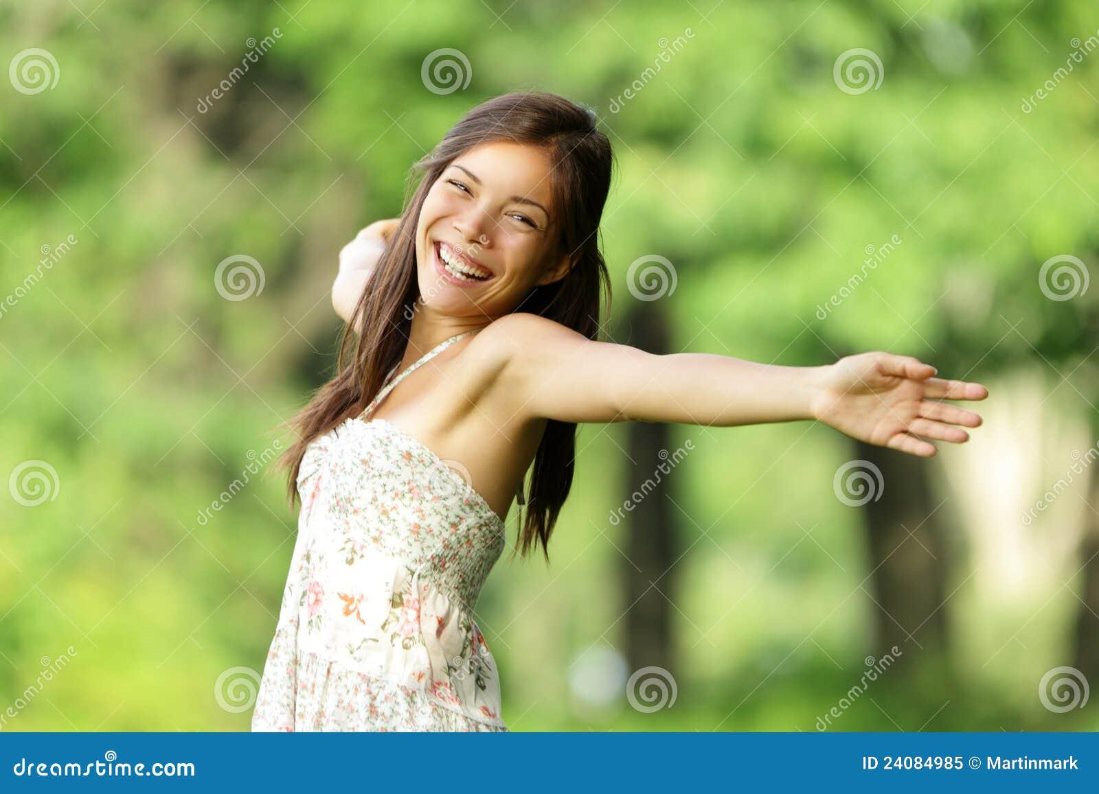 Fri lycklig kvinna