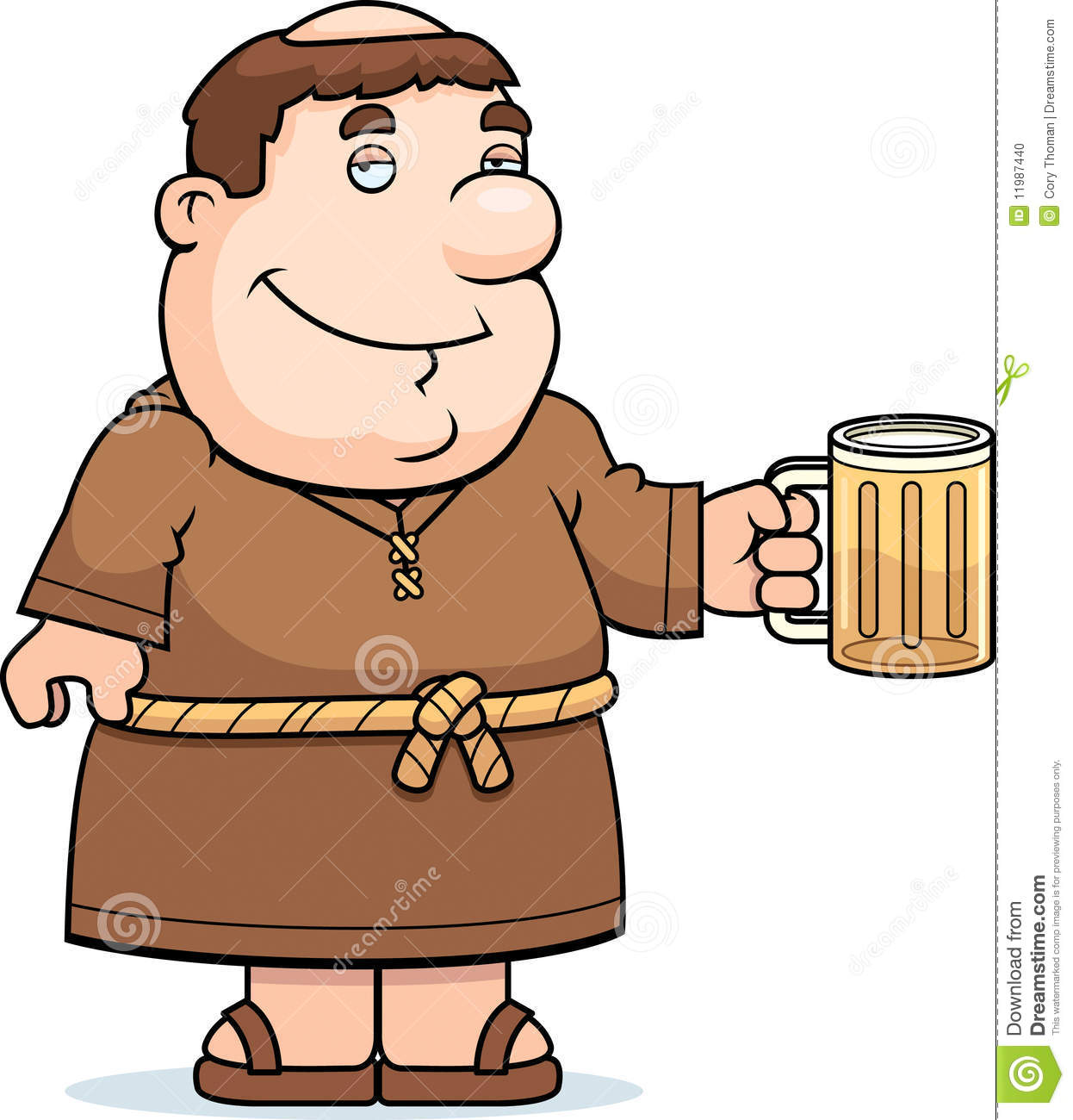 Monk/Friar With Beer Keg - Cartoon Mascot Illustration - Coghill ...