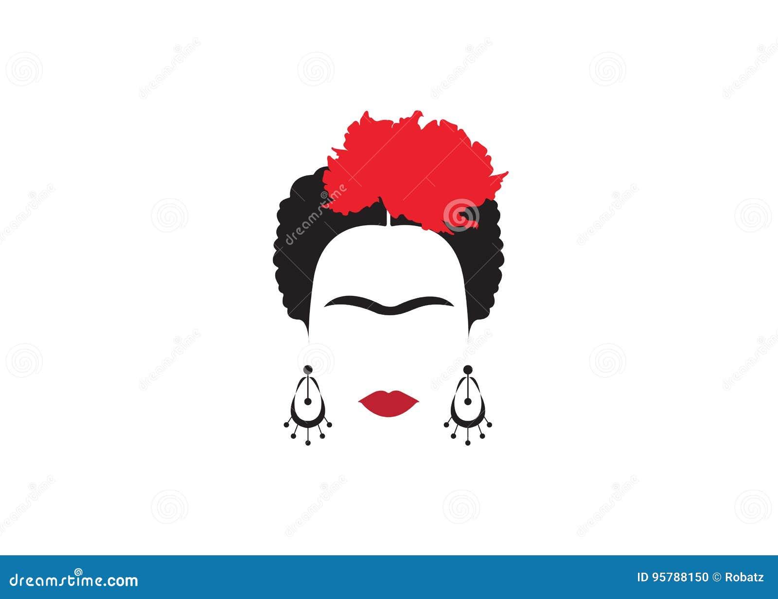 Frida kahlo minimalist portrait with earrings and flowers for Illustration minimaliste