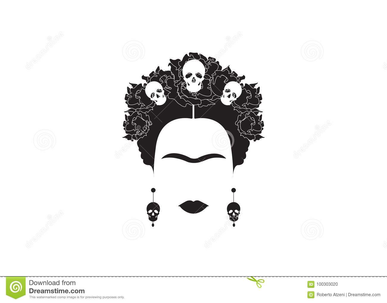 Frida Kahlo minimalist portrait with earrings and roses
