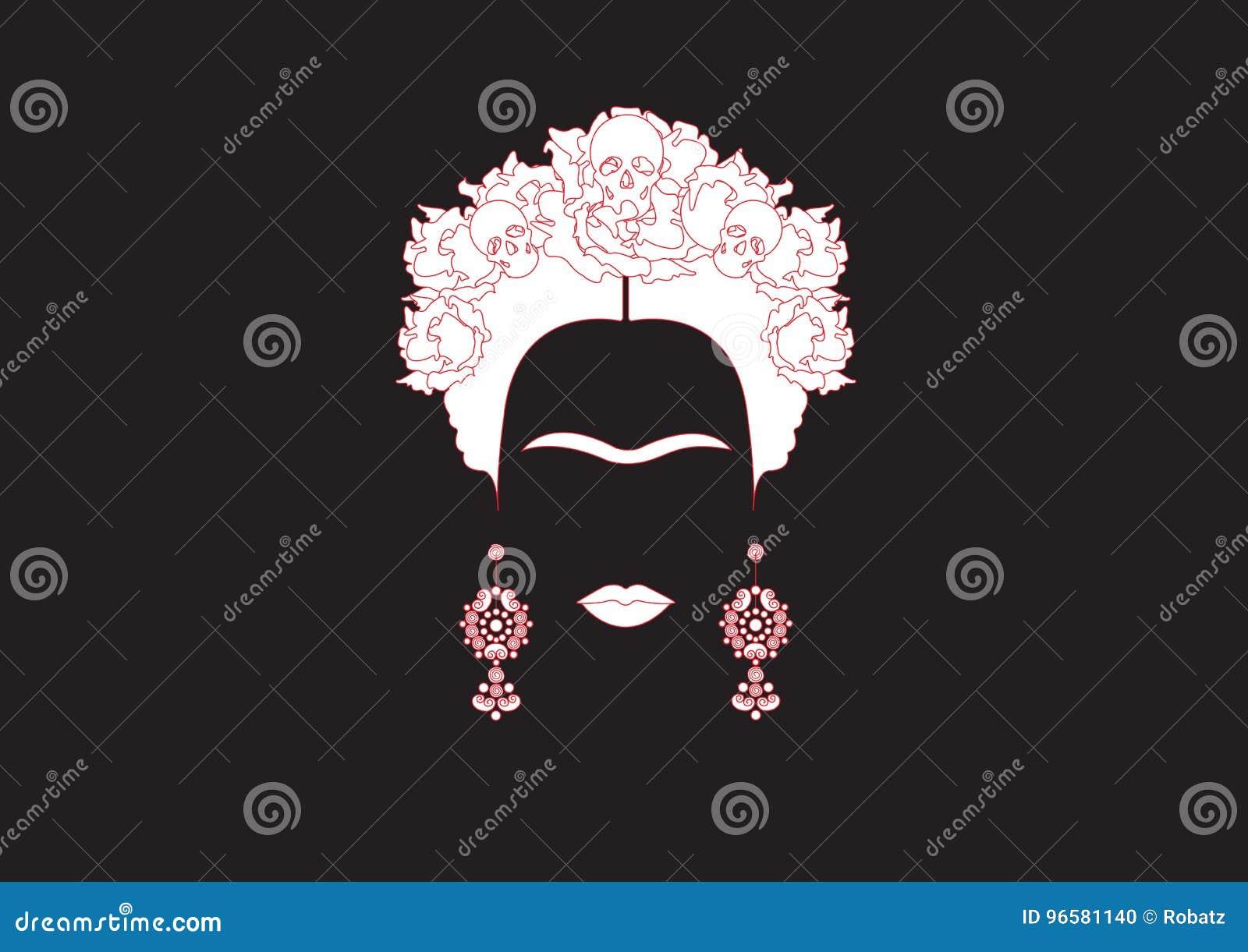 Frida Kahlo Minimalist Portrait With Earrings Roses And Skulls