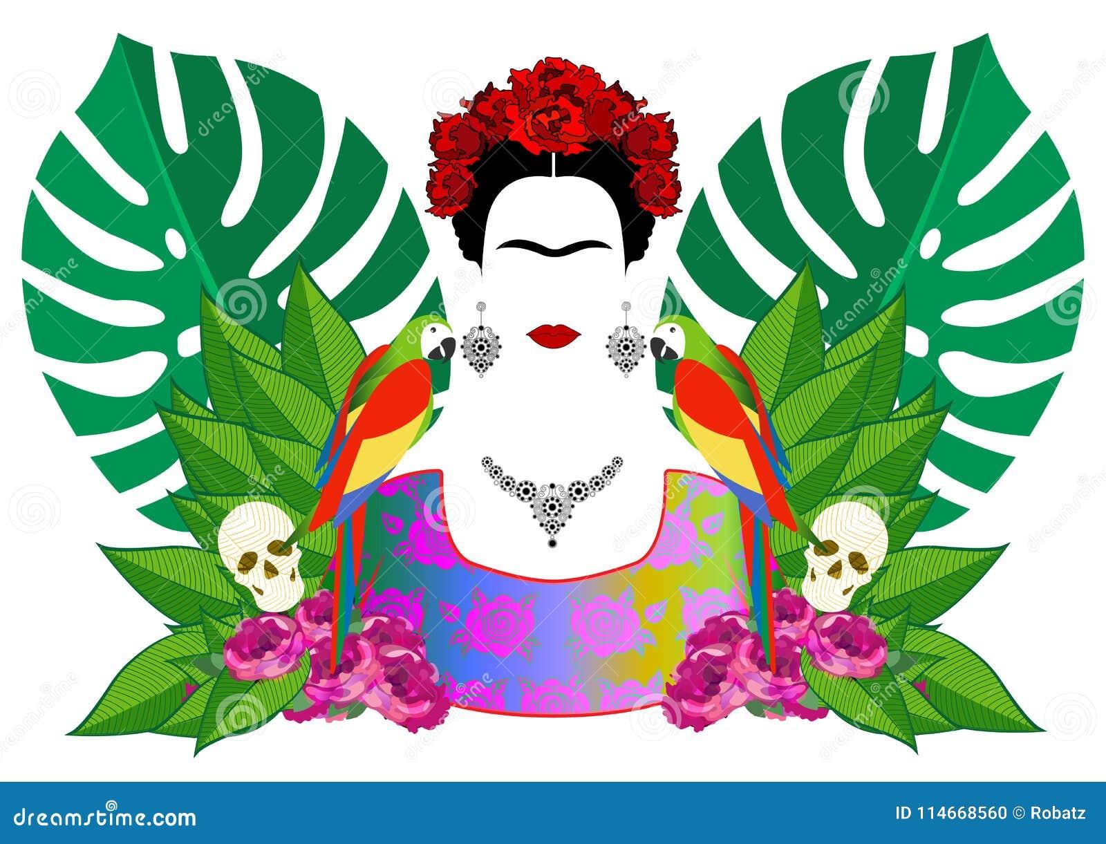 Imagenes De Frida Kahlo Animada Para Colorear: Frida Kahlo Vector Portrait , Young Beautiful Mexican
