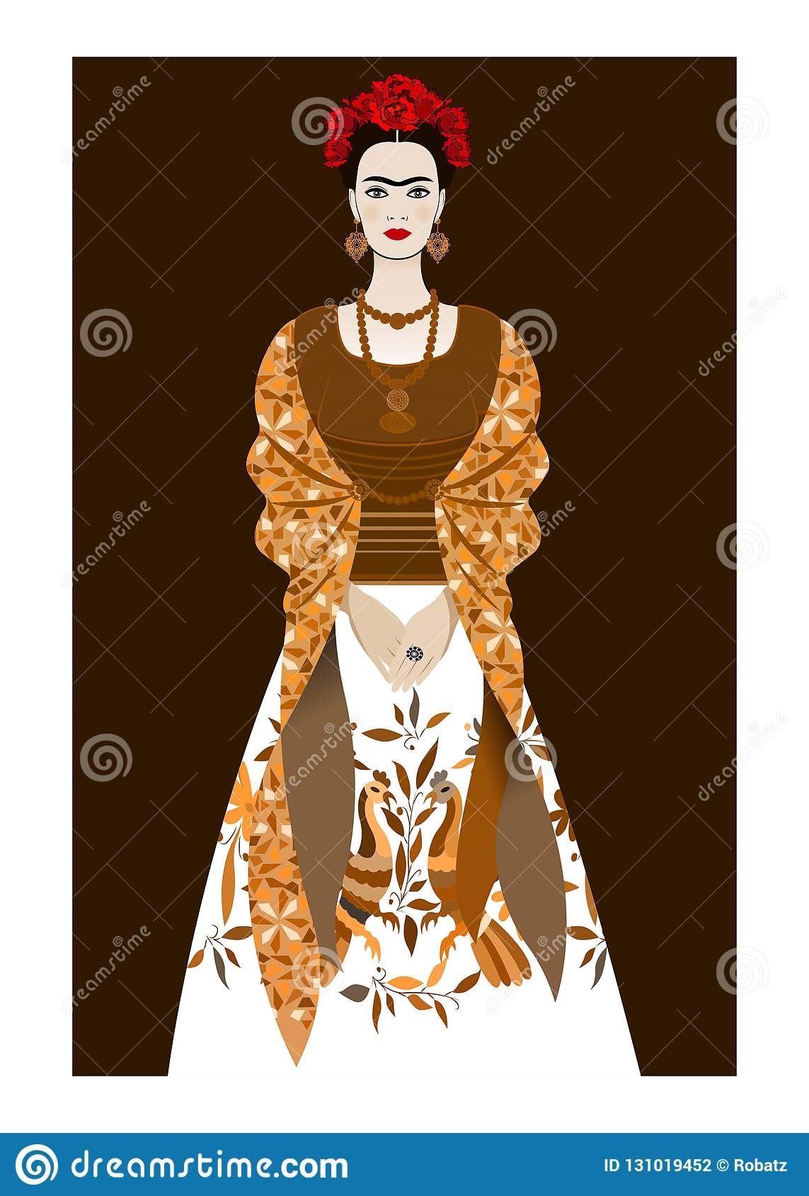 Frida Kahlo illustration portrait , young beautiful mexican woman with a traditional hairstyle, Mexican crafts jewelry and dress