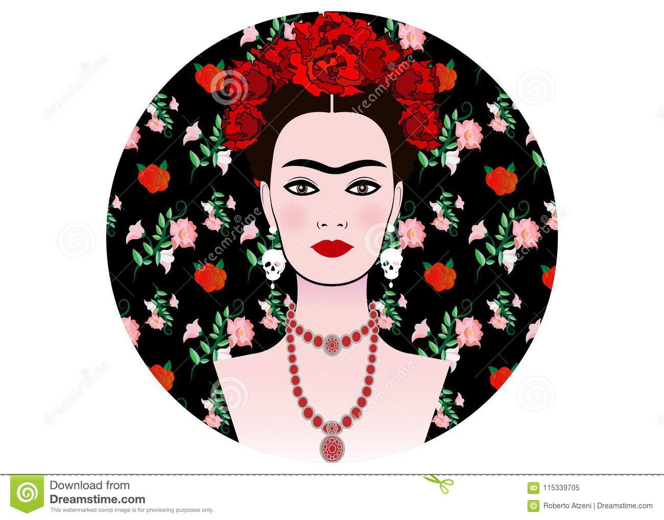 Frida Kahlo Vector Portrait Young Beautiful Mexican Woman With A