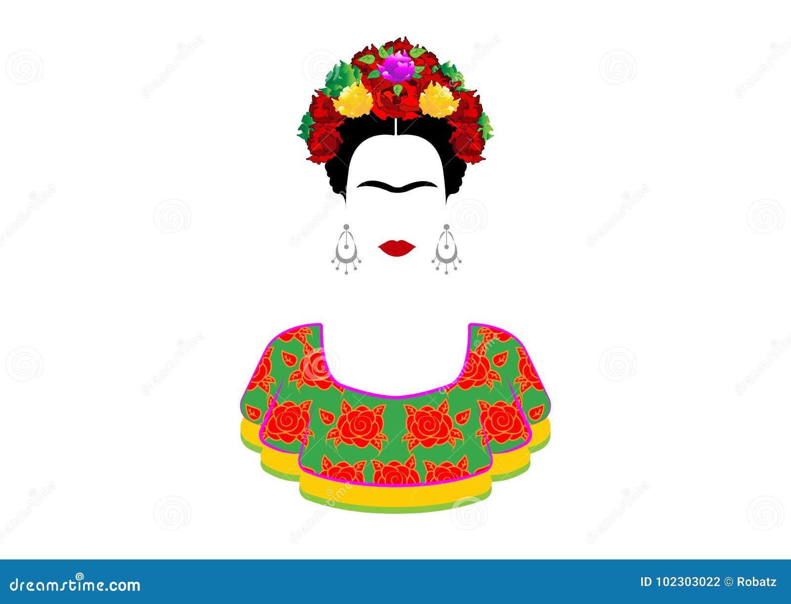 Frida Kahlo vektorstående, ung härlig mexicansk kvinna med en traditionell frisyr Mexikanen tillverkar örhängen och röda blommor,