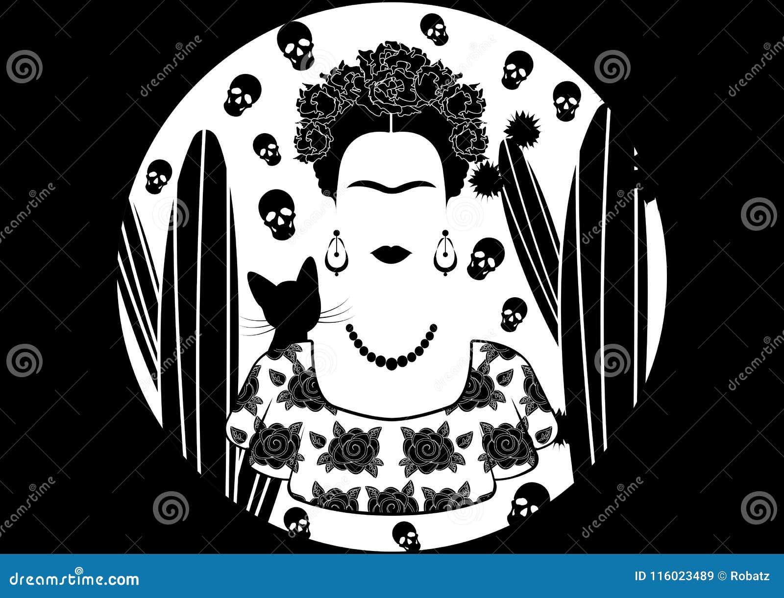 Frida Kahlo vektorstående, ung härlig mexikansk kvinna med en traditionell frisyr i den traditionella mexicanska klänningen, vekt