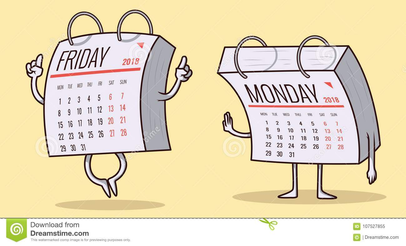 Friday And Monday Calendar Characters Illustration Stock