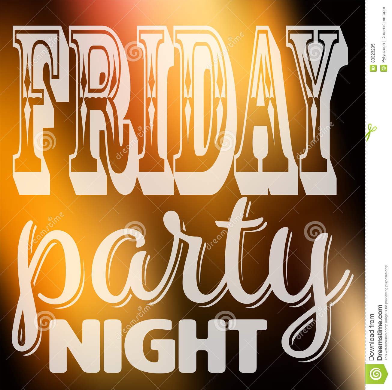 Friday Party Night Quote Square Card With Label In Different Fonts