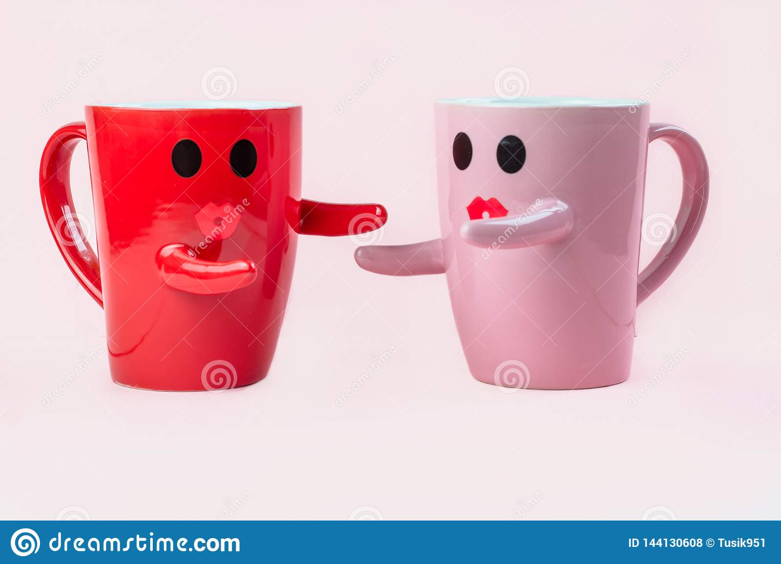 friday s happy word  two cups of coffee on a pink