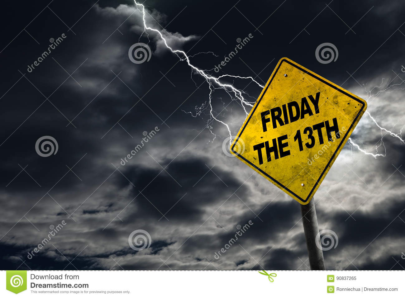 Friday The 13th Sign With Stormy Background Stock Image Image Of