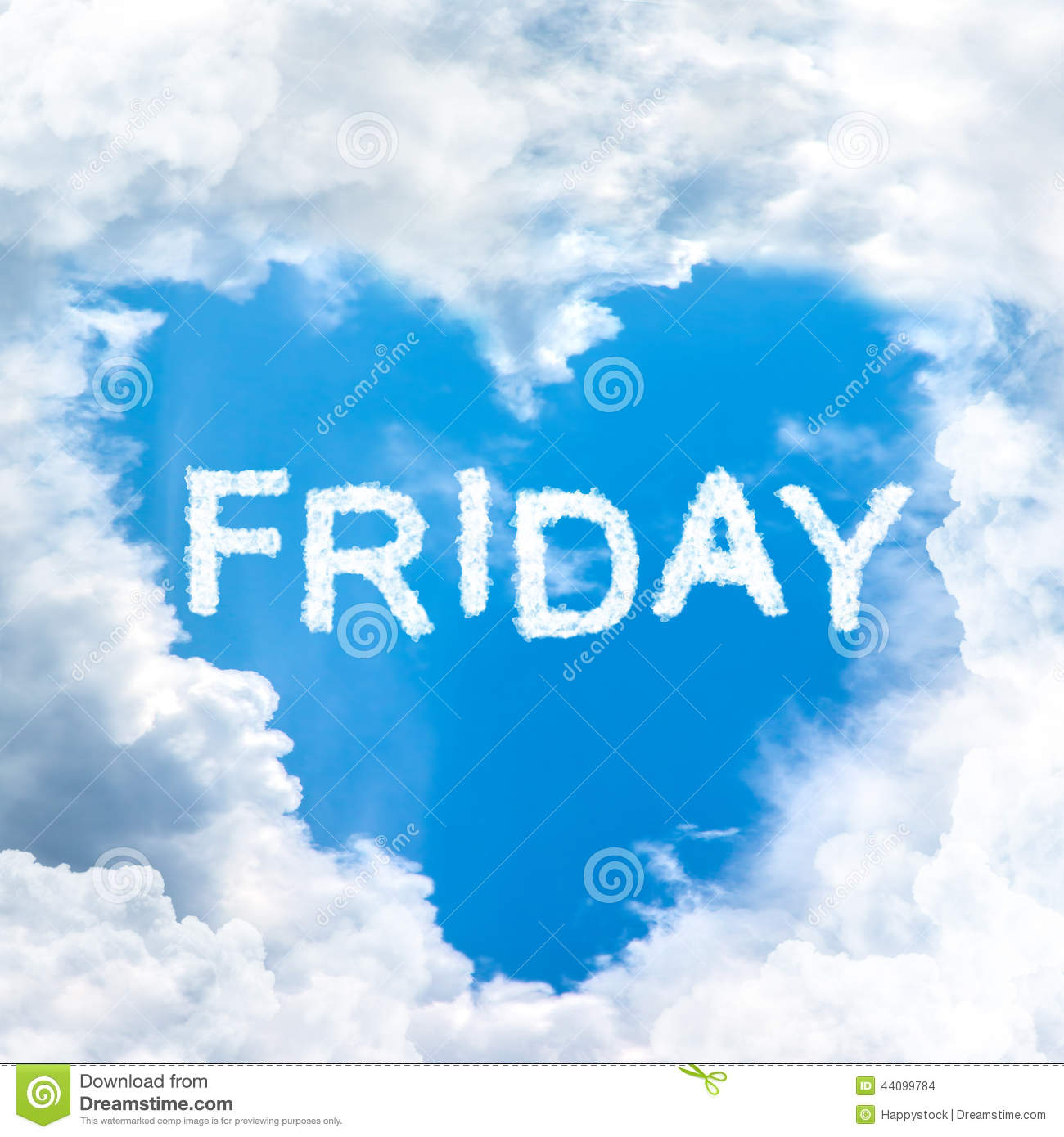 Friday time happy for holiday concept inside blue sky shape heart from ...