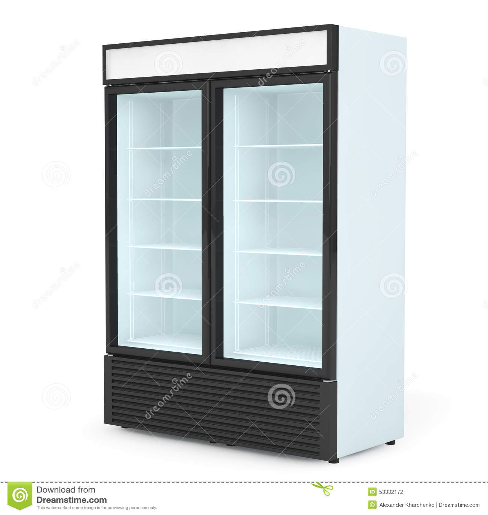 Fridge Drink With Glass Door Stock Photo Image Of Freezer