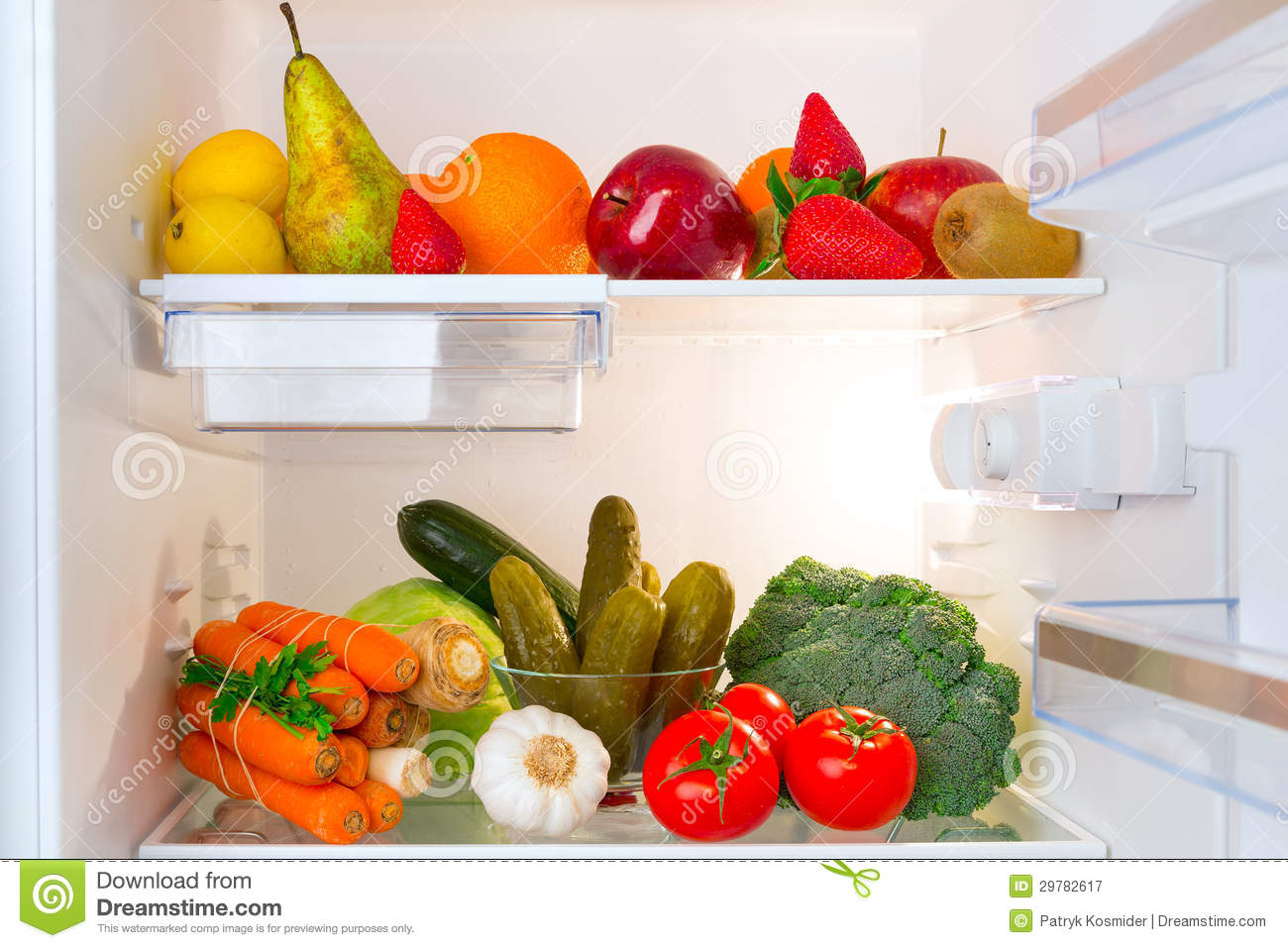 Healthy Fruits And Vegetables In The Fridge Stock Image