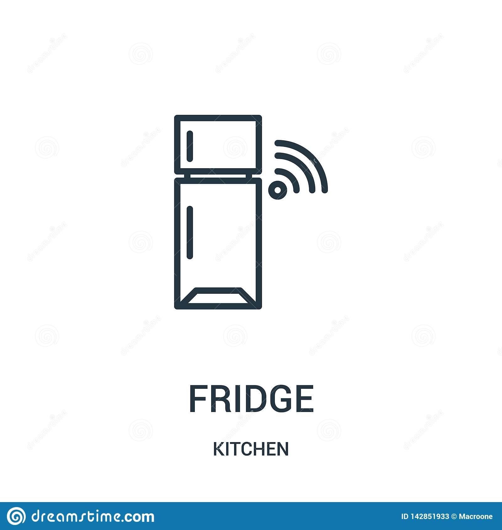 Fridge Icon Vector From Kitchen Collection Thin Line Fridge