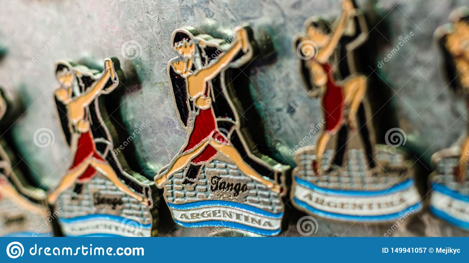 Fridge magnets with traditional tango dancers at a weekend fair in Buenos Aires