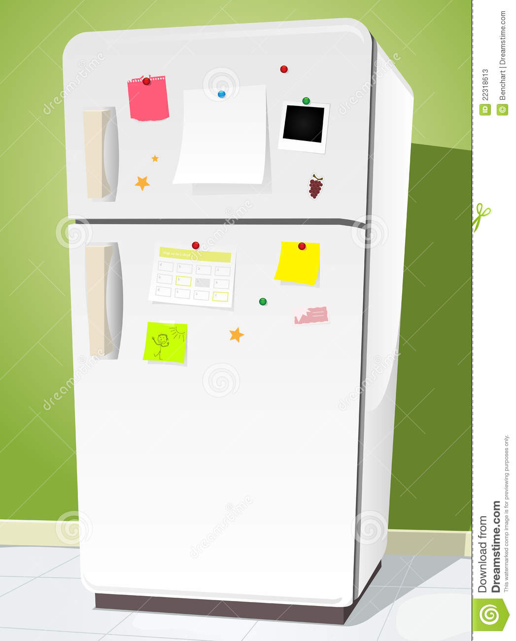 Illustration of a cartoon white fridge with notes and kitchen ...