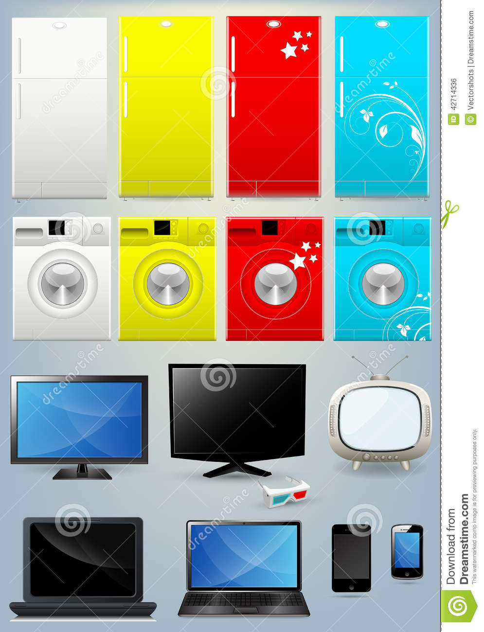 Fridge Washing Machine Tv Laptop And Mobile Vectors