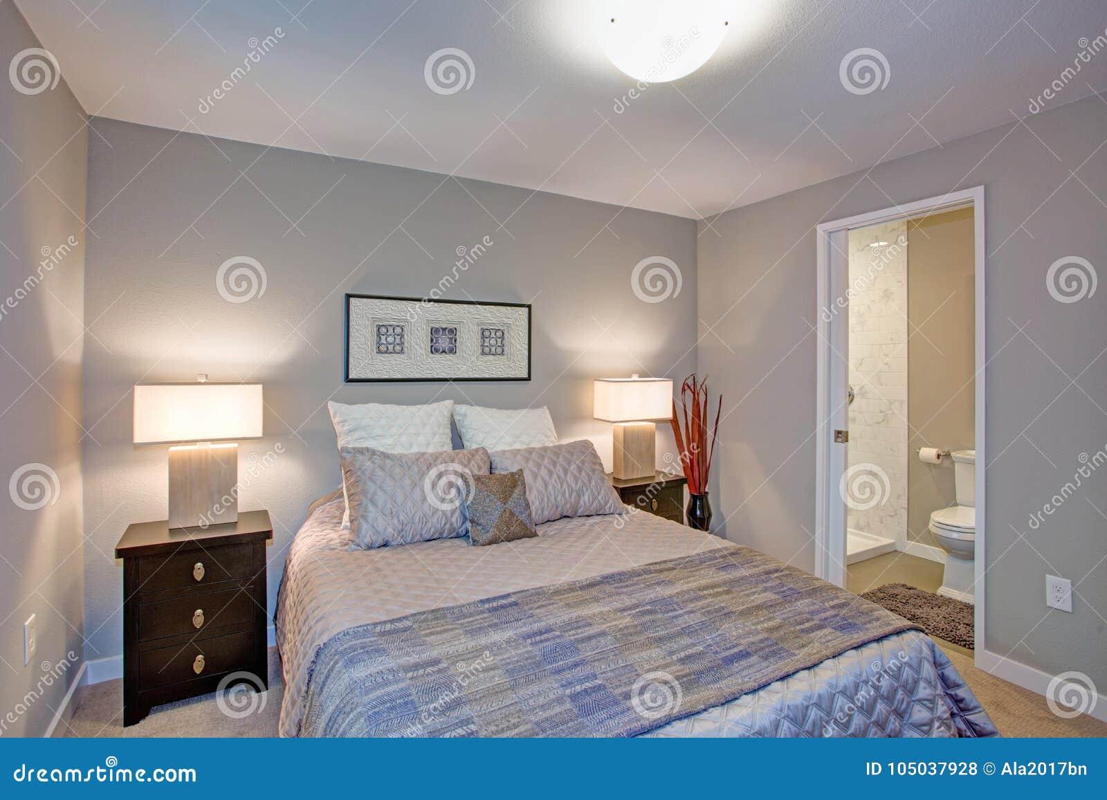 Fridsamma grå färger slösar sovruminre med ensuitebadrummet
