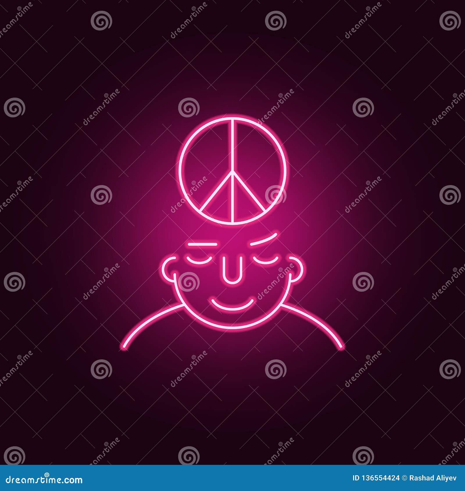 Fridsamt på meningssymbol Beståndsdelar av vad är i din mening i neonstilsymboler Enkel symbol för websites, rengöringsdukdesign,