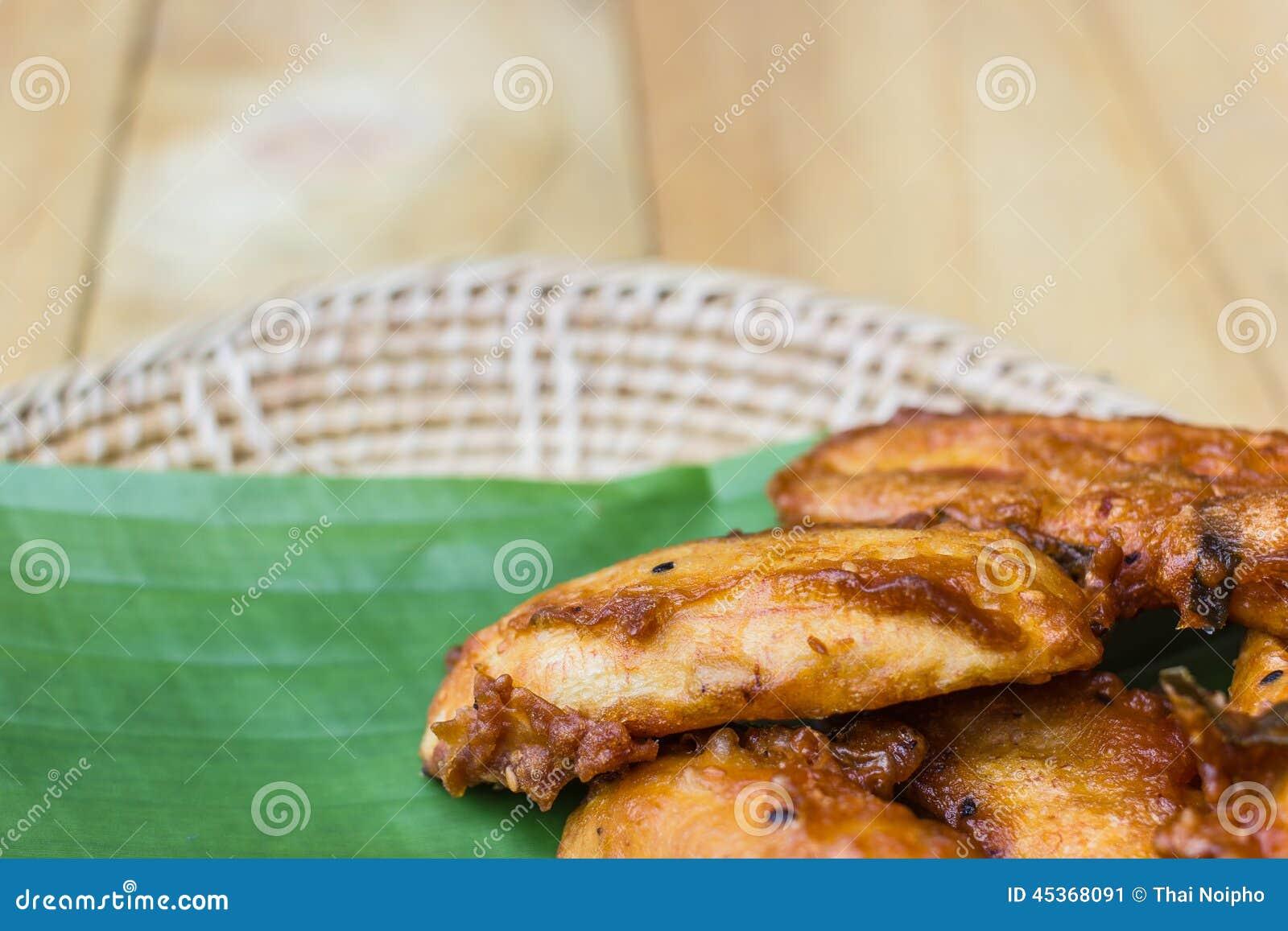 Fried Banana avec la feuille de banane